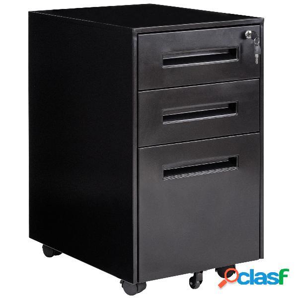 Costway caisson/armoire de bureau à roulettes avec 3 tiroirs 2 clés 38 x 50 x 65cm noir
