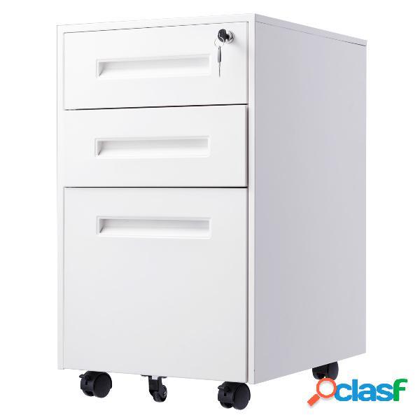 Costway caisson/armoire de bureau à roulettes avec 3 tiroirs 2 clés 38 x 50 x 65cm blanc