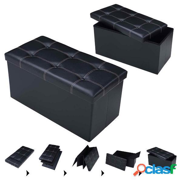 Tabouret de cube pouf pliable banc coffre rangement boîte de rangement noir