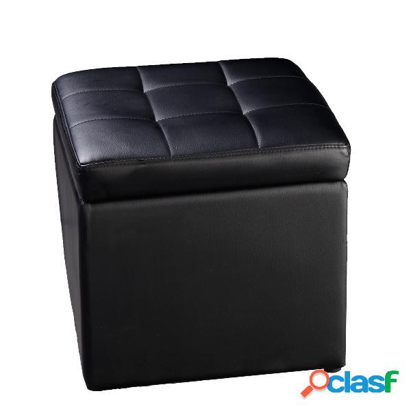 Coffre siège de rangement tabouret pouf banc en couleur noir
