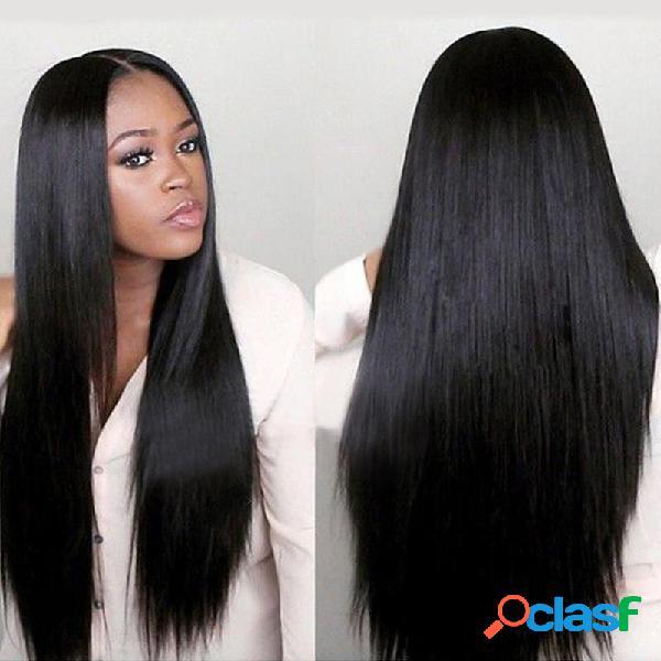 Perruque de fibre chimique mate résistante aux hautes températures de cheveux synthétiques longs verticaux naturels de femmes