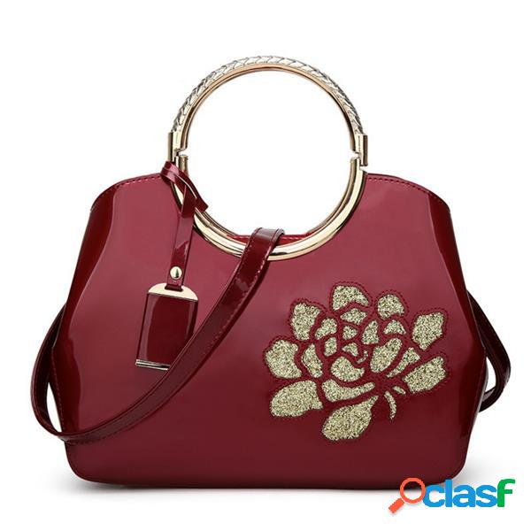 Mode nouvelle broderie fleur brillant cuir verni shell dames sac à main