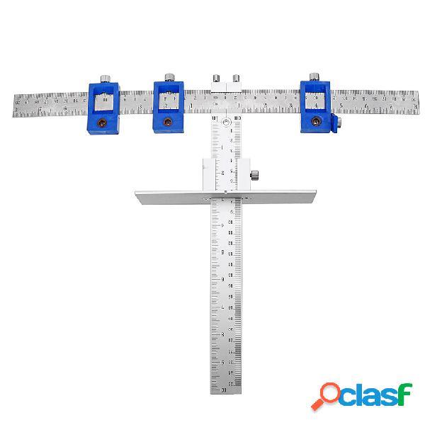 Guide de gabarit de matériel de tiroir en aluminium de tiroir d'outil de menuiserie cm / position de pouce avec le foret 3pcs