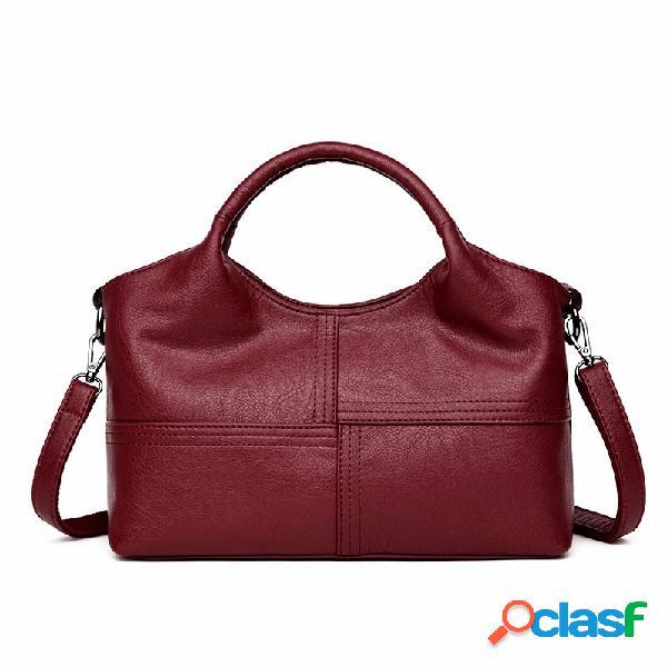 Sac à main femme en cuir pu doux sac bandoulière uni à coutures avec grande capacité