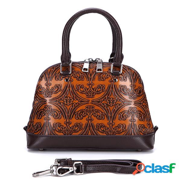 Sac à main coquillage vintage en cuir véritable sac bandoulière en relief sac porté épaule pour femme