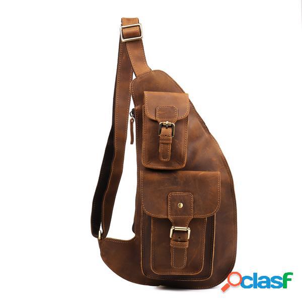 Sac bandoulière cuir véritable sac à poitrine vintage avec multi-poches porté épaule pour homme