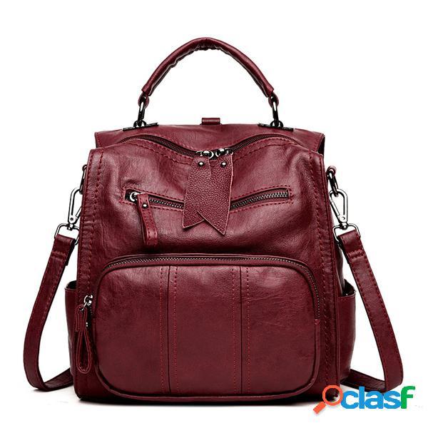 Sac à main en cuir pu souple multi-fonction sac bandoulière en couleur pure à grande capacité pour femme