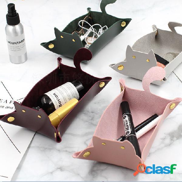Boîte de rangement de bureau en cuir pu de bande dessinée pour chat avec panier de rangement à plateau rabattable créatif