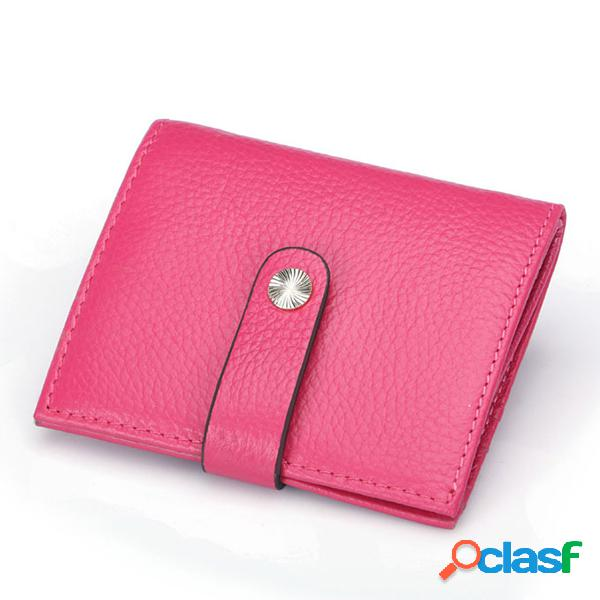 Porte-cartes en cuir véritable pour femme