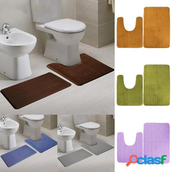 2pcs super absorbant memory foam velure tapis de toilette tapis de salle de bain coussin de pieds de sol
