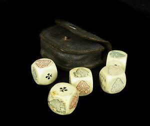 5 dés à 6 faces anciens pour poker d'as ancient dice