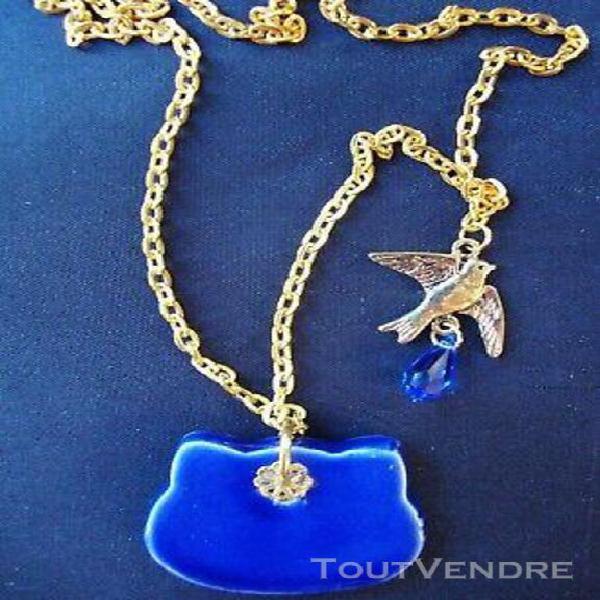 Chaîne collier pendentif céramique chat perle cristal
