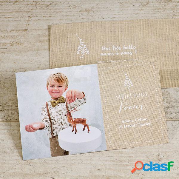 Cartes de vœux - carte de vœux effet tissé et photo (échantillon)