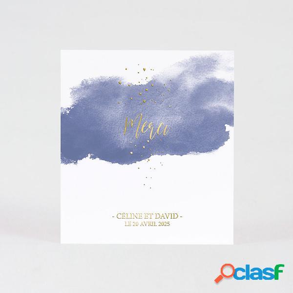 Cartes remerciements - carte de remerciement mariage effet aquarelle bleue photo et dorure