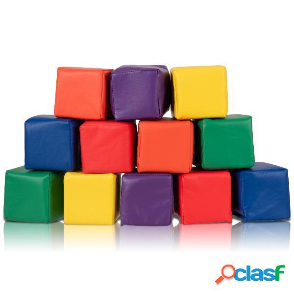 Costway 12 blocs de construction en mousse carré 14x14x14cm 6 couleurs enfants plus de 12 mois