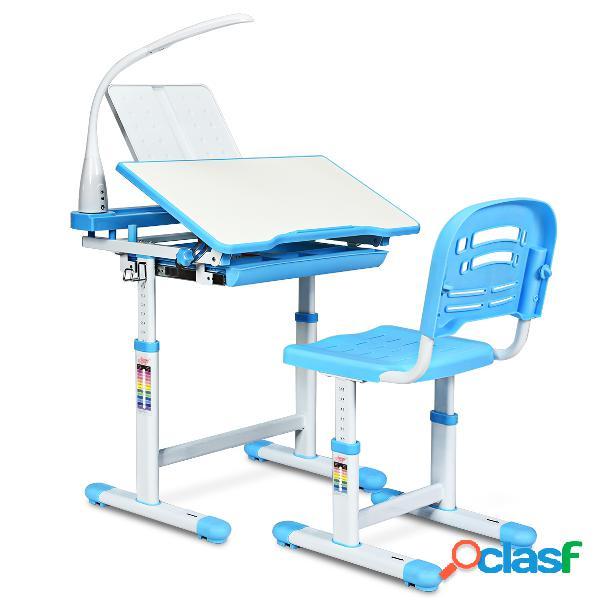 Costway set bureau et chaise pour enfants avec lampe led charge maximale 80kg-bleu