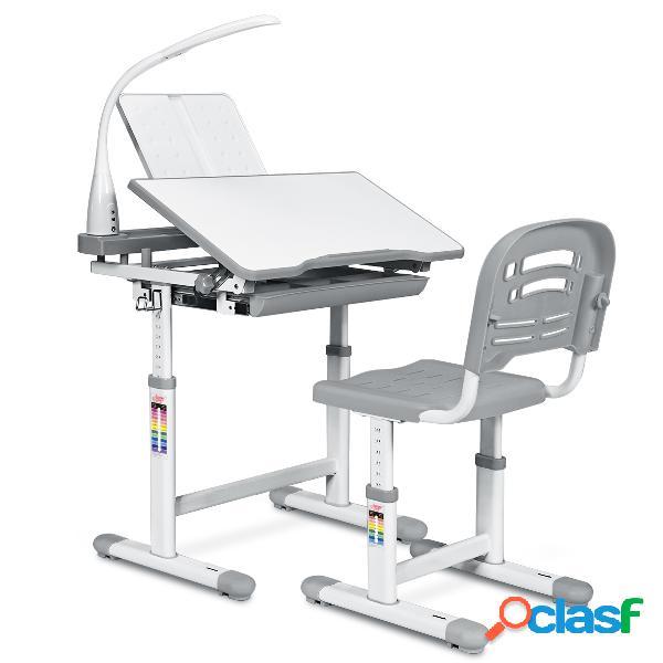 Costway set bureau et chaise pour enfants avec lampe led charge maximale 80kg-gris