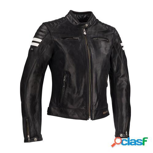 Segura lady stripe, veste moto cuir femmes, noir-blanc