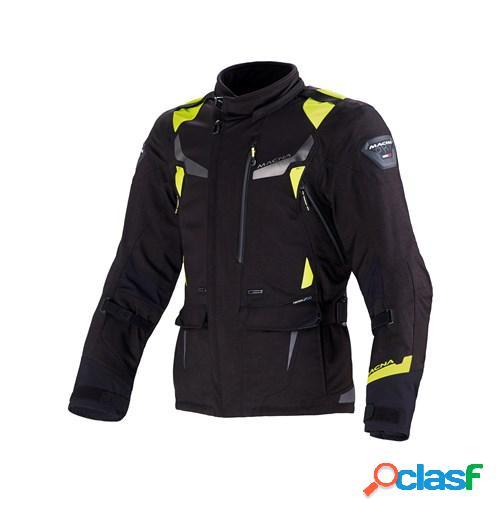 Macna impact pro, veste moto textile hommes, noir jaune fluo