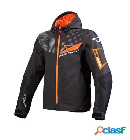 Macna imbuz, veste moto textile hommes, gris noir orange