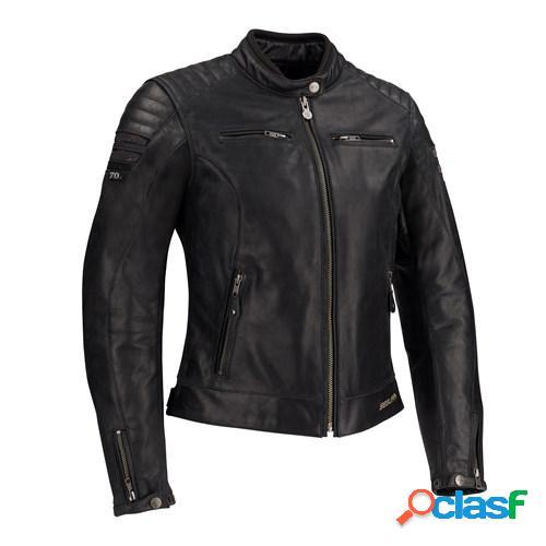 SEGURA Lady Stripe, Veste moto cuir femmes, Noir-Argent