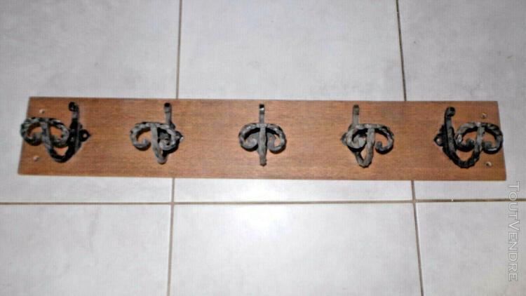 Ancien porte manteau bois 5 patere fer forge