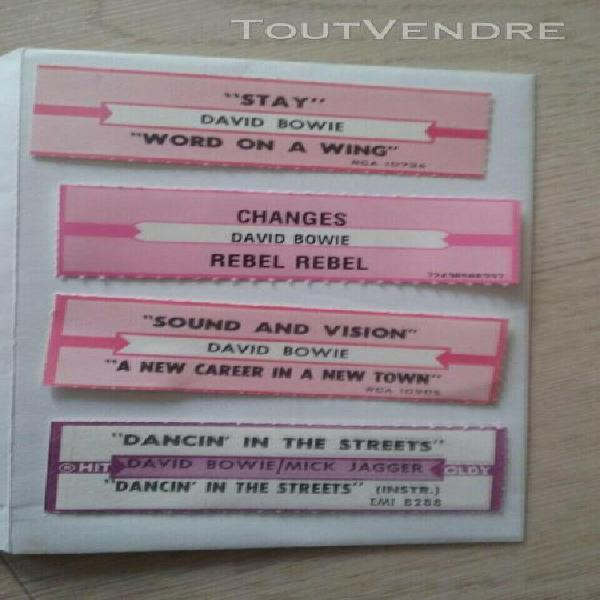 David bowie lot 4 juke box stripes 4 etiquettes juke