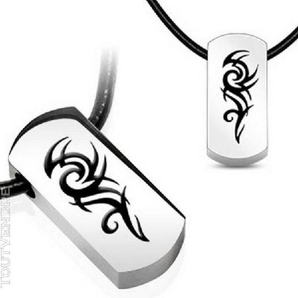 Pendentif tribal avec collier cuir acier chirurgical 316l di