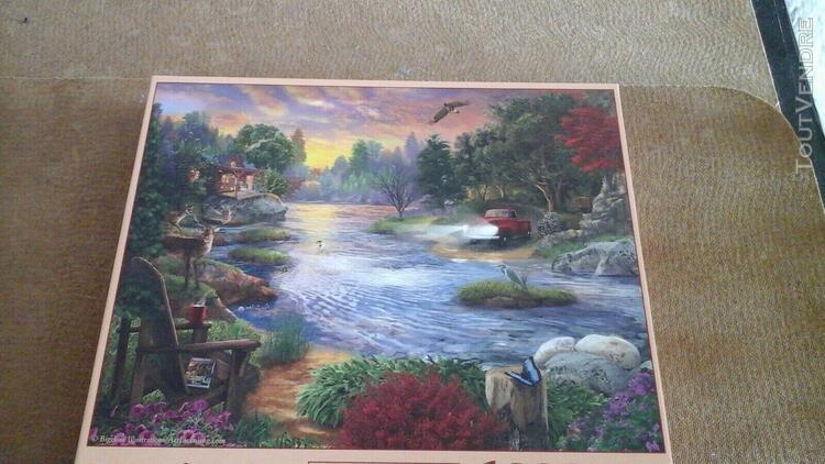"""Puzzle """" chalet au bord du lac entourer de foret"""" - 1000"""