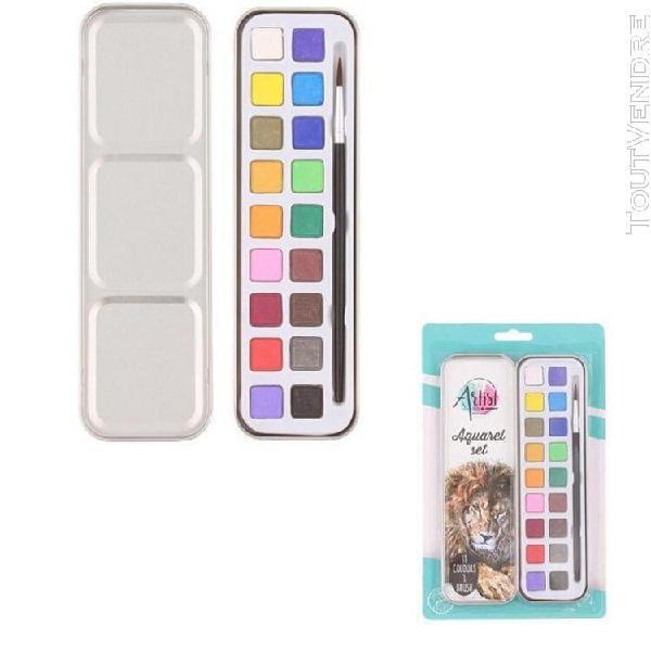 Set aquarelle 18 couleurs avec pinceau et boite - kit peintu