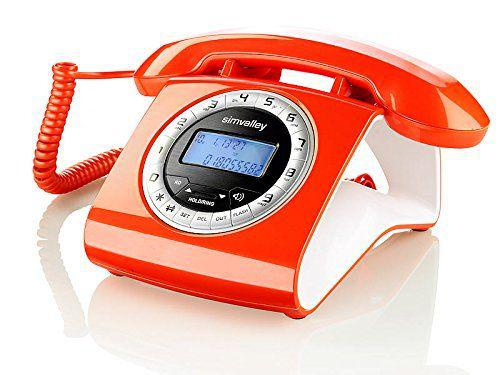 Téléphone orange fixe filaire style vintage neuf, cannes