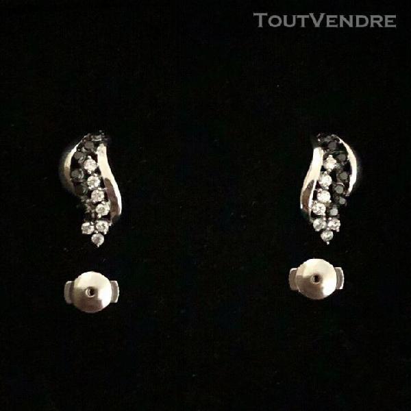 Boucles d'oreilles diamants noir et blanc or gris 18 k
