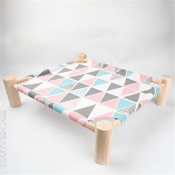Lit amovible pour chat et chiot lit en bois, coussin paresse