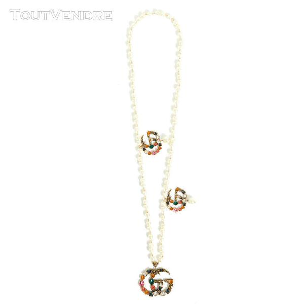Gucci necklace crystal double g new
