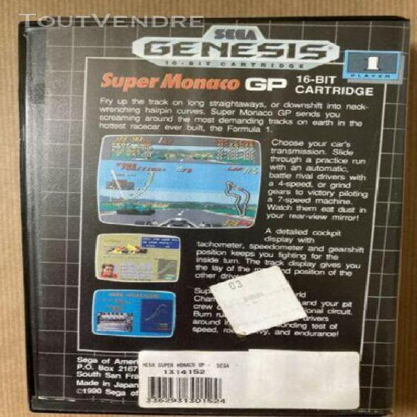 Jeux video sega genesis super monaco gp cartouche, boitier,