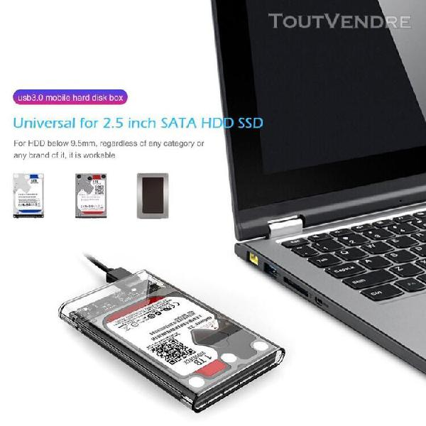 Transparent 2.5 pouces usb 3.0 sata hd boîte ssd disque dur
