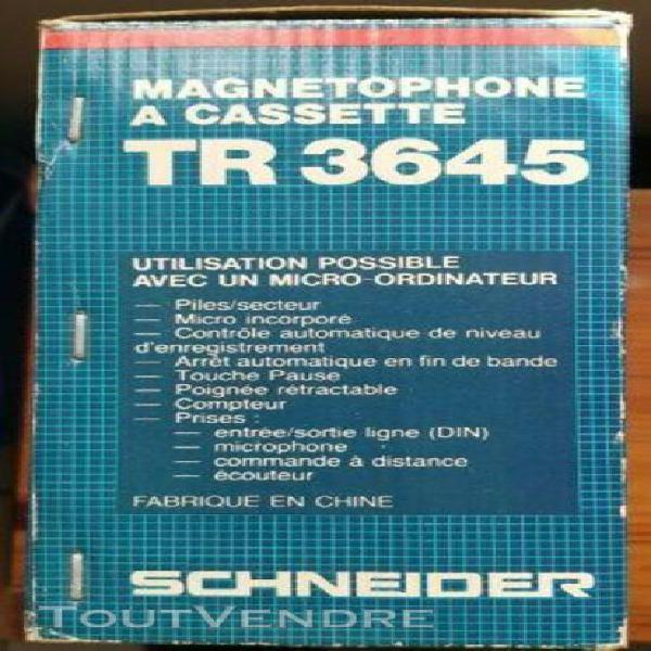 Magnétophone schneider tr 3645 vintage