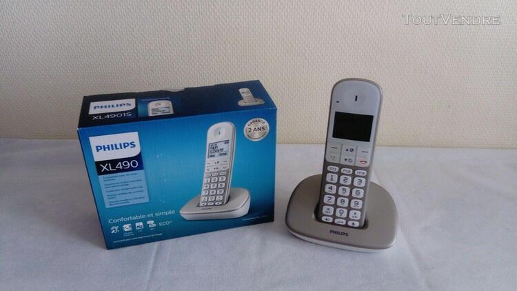Téléphone sans fil philips xl490 solo comme neuf !