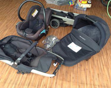 3 en un poussette, landau, auto siège bébé confort