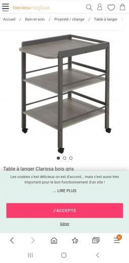 Table à langer grise geuther en bois