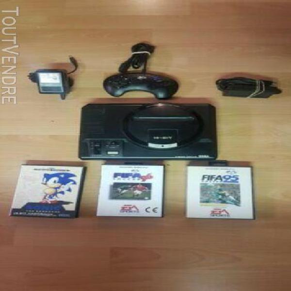Sega mega drive console de jeux - noire + manettes et 3 jeux