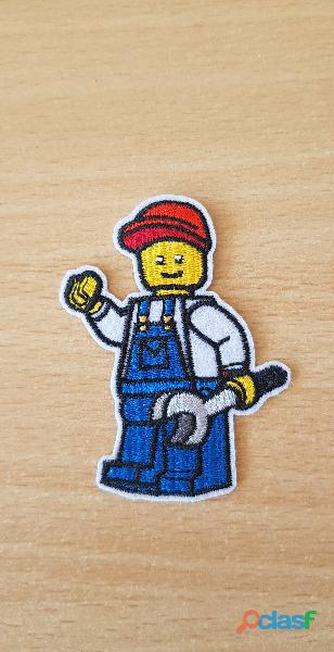 Ecusson brodé Lego ouvrier 7x5 cm thermocollant, pas besoin de couture