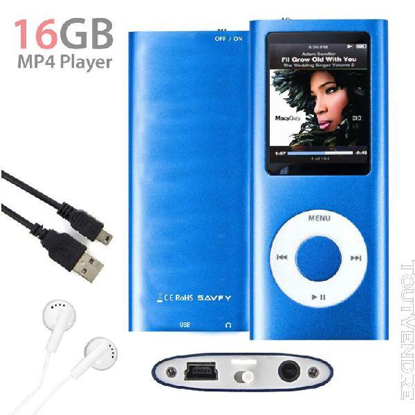 Lecteur mp3 mp4 player 16go (bleu) vidéo radio fm musique