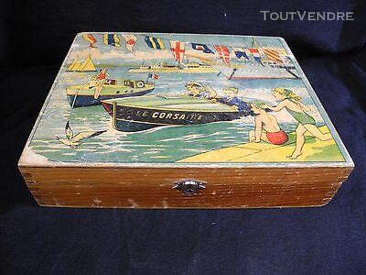 Ancienne boite de jeu, canots automobiles, bateaux