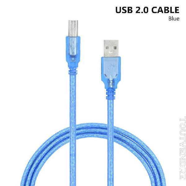 Câble d'imprimante usb 2.0 bleu transparent haute vitesse