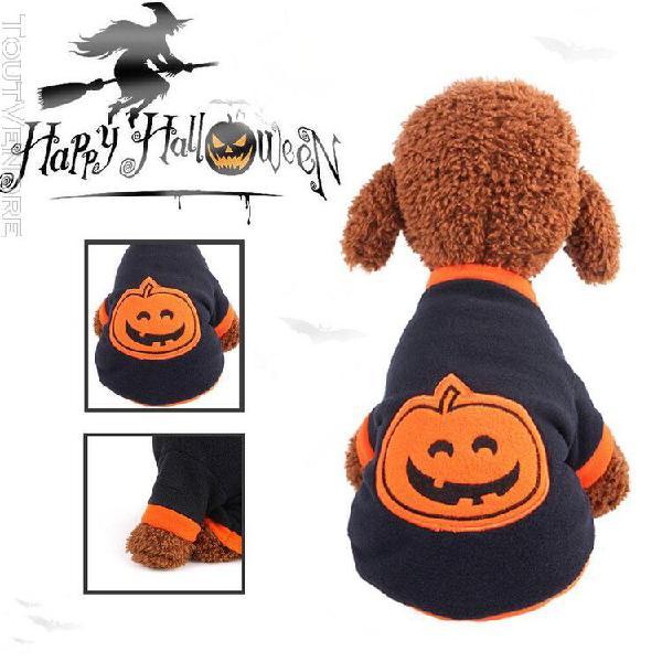 Duorenk animal de compagnie halloween pet dog shirt citrouil
