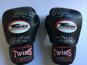 Gants twins special dragon cuir 12oz noir boxe thaillandaise