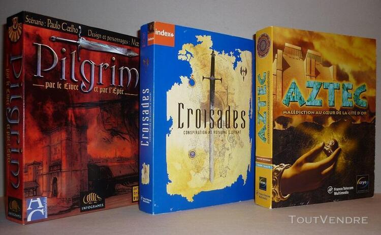 Jeux vidéos pc «pilgrim» + «croisades» + «aztec»