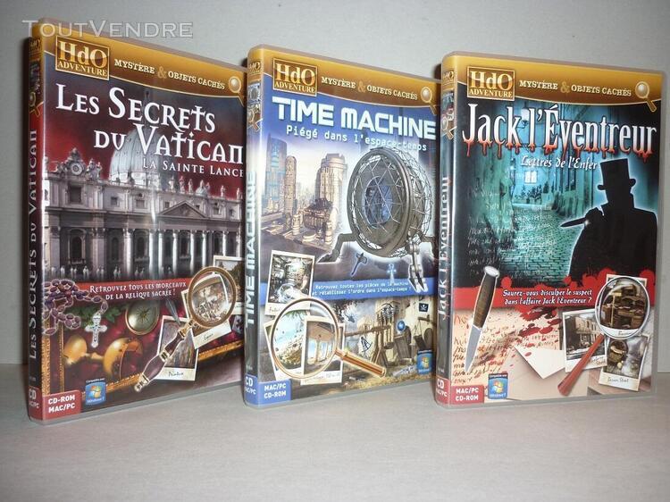 Lot de 3 jeux vidéos pc/mac «hdo adventure» 2009 cd-rom
