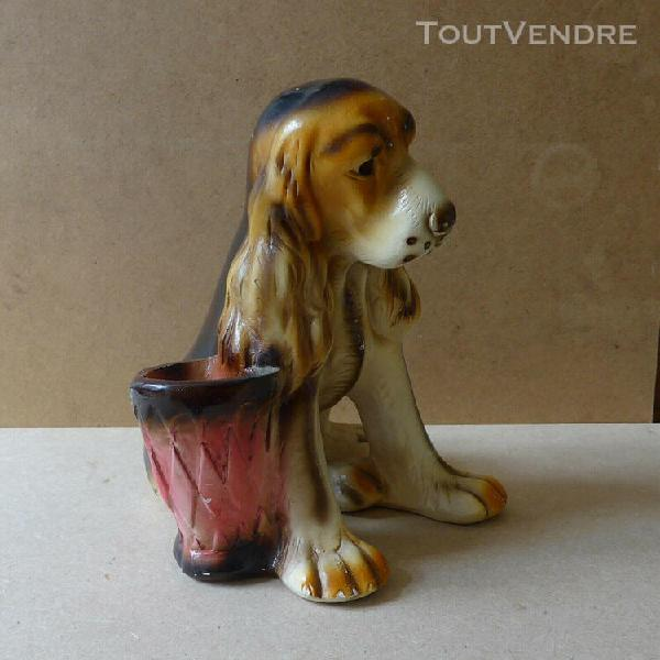 Statue en plâtre chien + petit pot de fleurs * cavalier